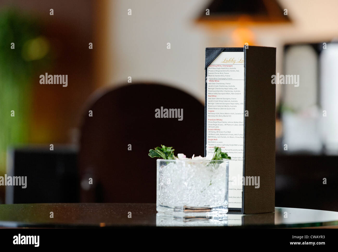 Cocktail Drinks Menu In The Marriott Hotel, Bangkok, With Glass Table  Decoration