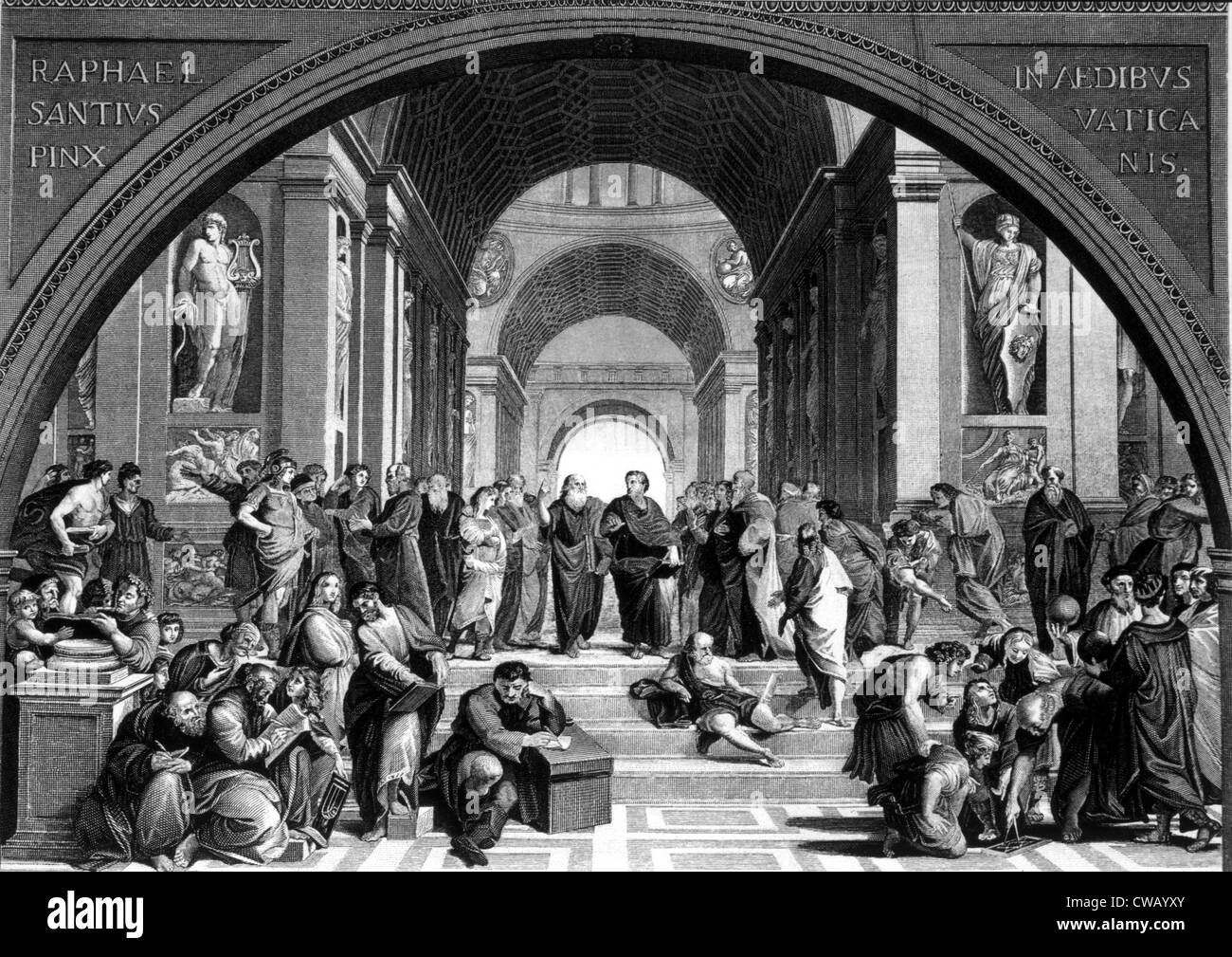 Socrates (center, left), at the school of Athens, 400 BC. Engraving after painting by Raphael. - Stock Image