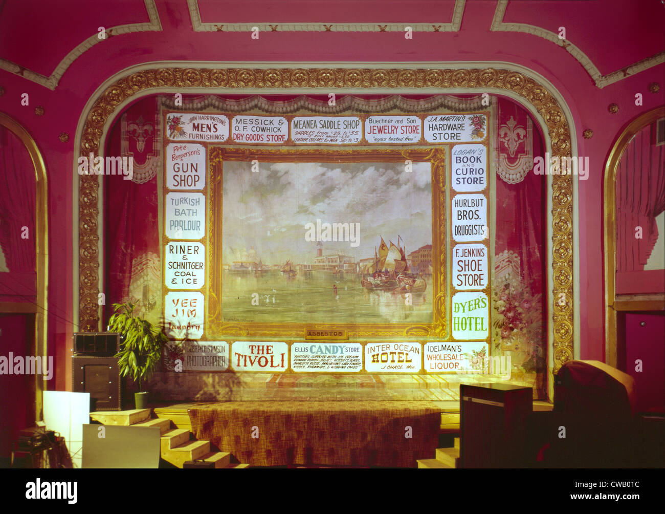 Movie Theaters, The Atlas Theater, detail of stage and painted curtain, constructed 1907, 213 West Sixteenth Street, - Stock Image