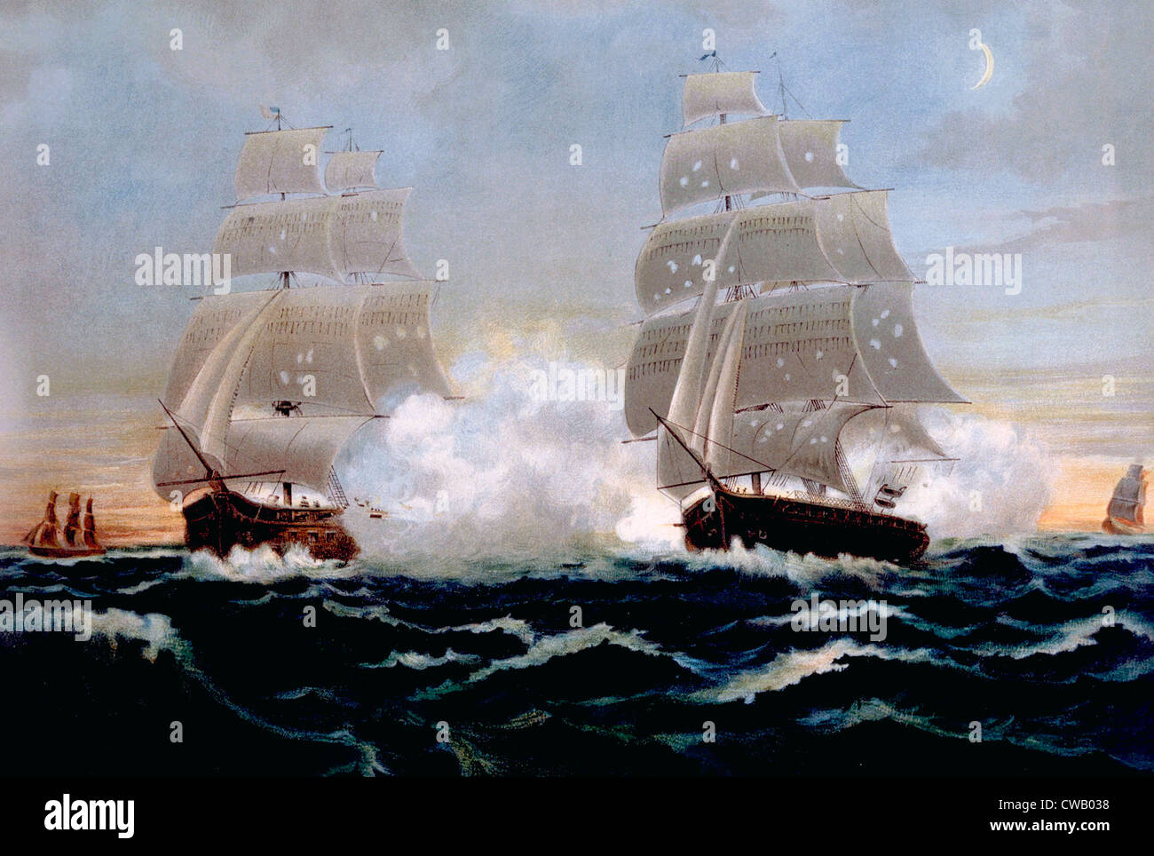The War of 1812, U.S. and British frigates in battle, lithograph published 1899 - Stock Image