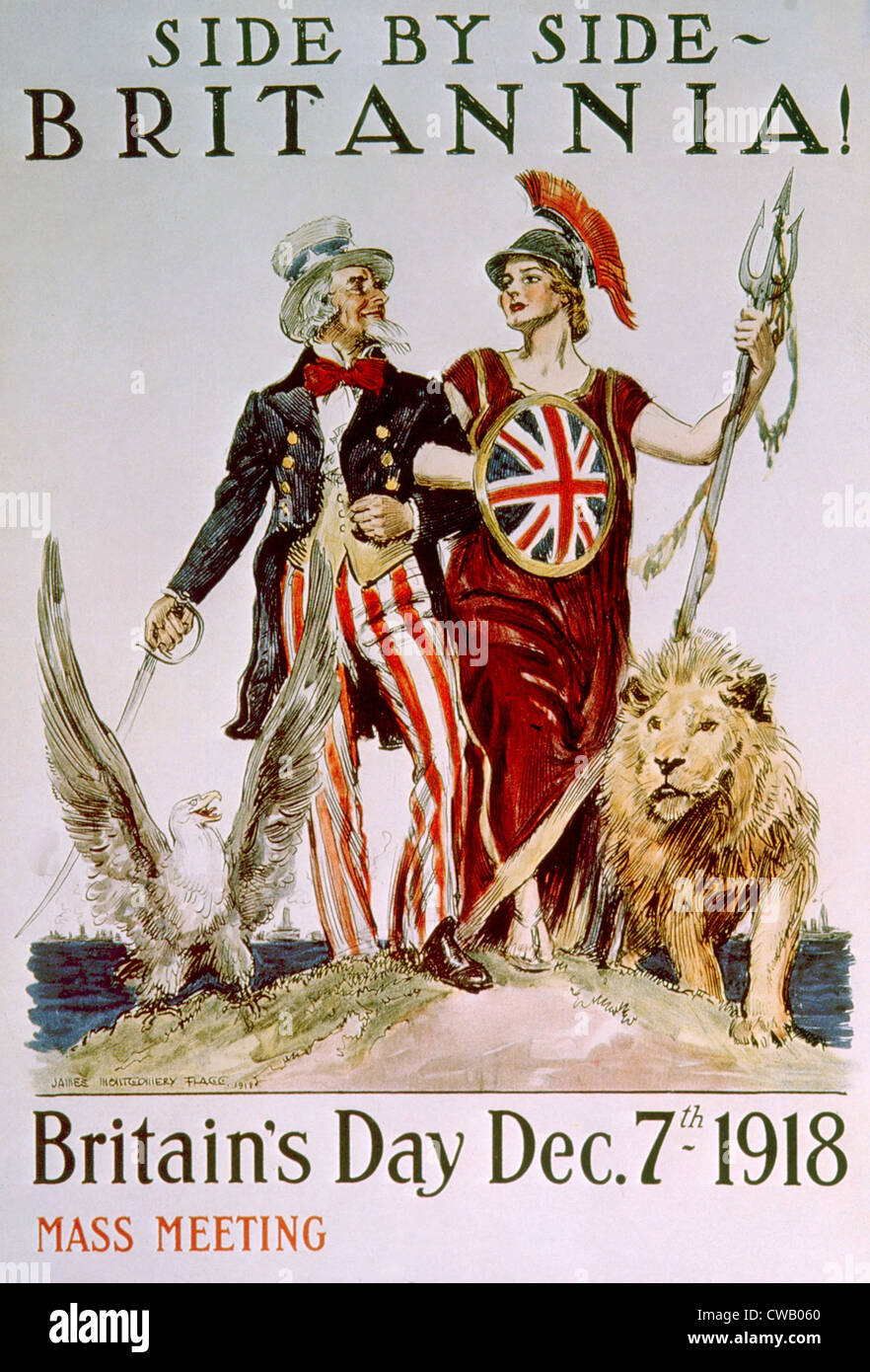 World War I victory poster celebrating the American-British relationship by James Montgomery Flagg, 1918 - Stock Image