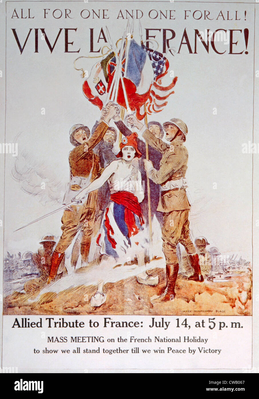 World War I American poster depicting Allied nations unity by James Montgomery Flagg, 1918 - Stock Image