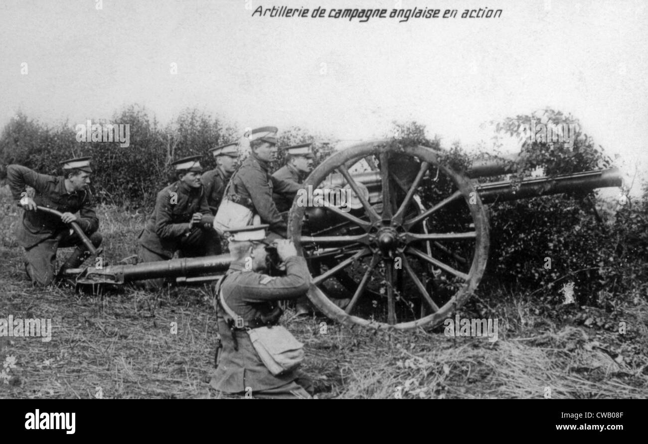 World War I, English field artillery in action in France, ca. 1914 - Stock Image