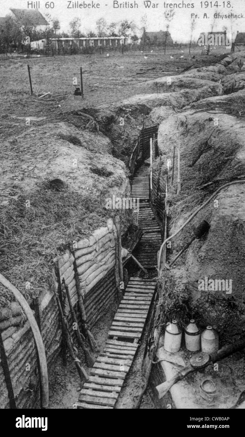 World War I, the British army trenches in France, ca. 1914 - Stock Image