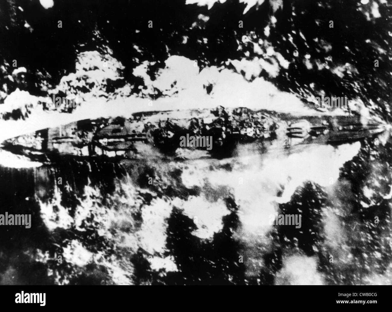 World War II, Japanese Kongo-class battleship bracketed by bombs from American planes off Panay, 1944. - Stock Image
