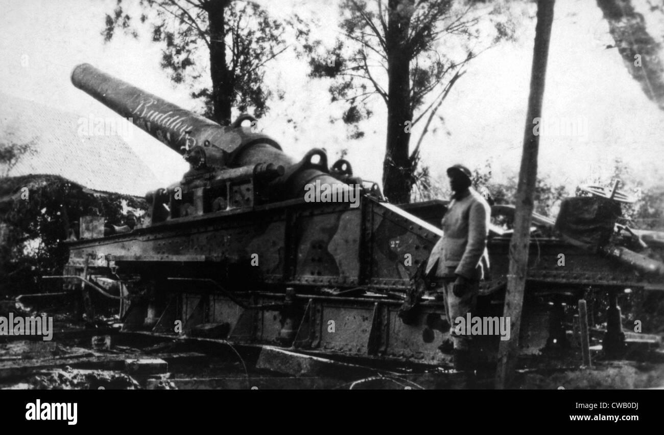 World War I, German heavy artillery, ca. 1917 - Stock Image