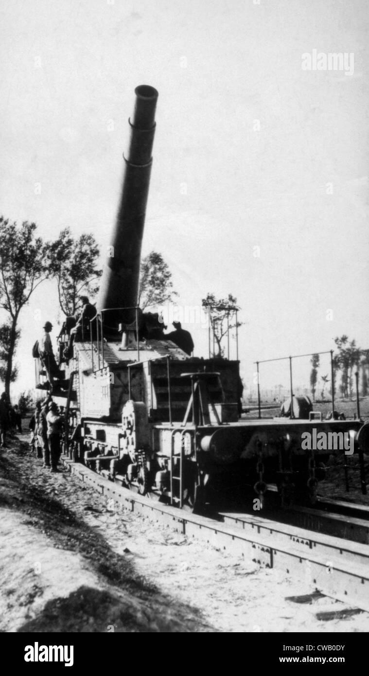 World War I, German heavy railway artillery, ca. 1917 - Stock Image