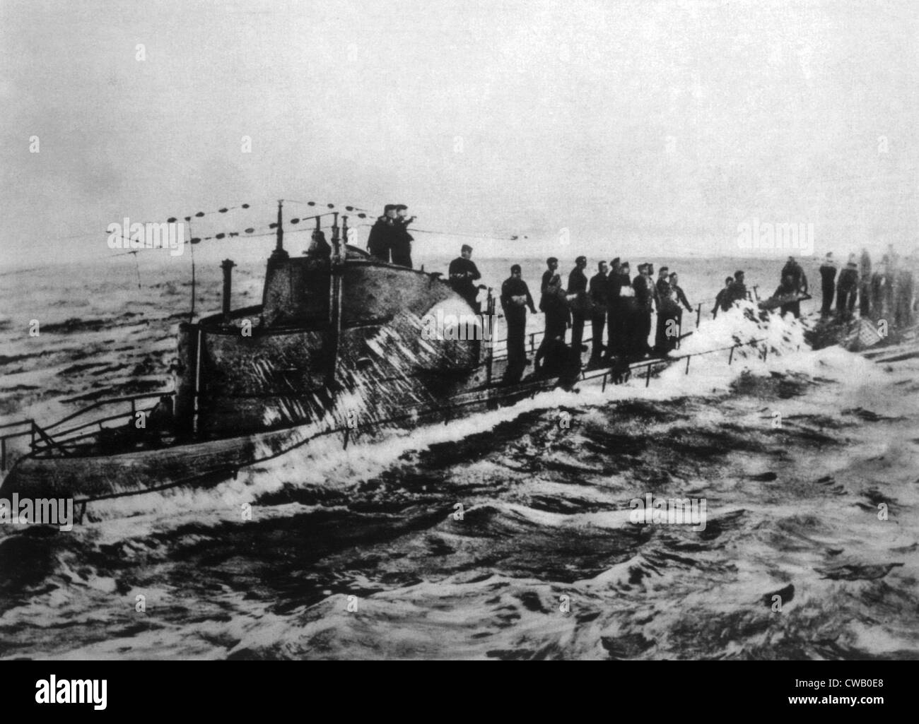 World War I, crew of the German U-boat U-58 on deck as it is captured by the American Navy, U.S. Navy photo, 1918 - Stock Image