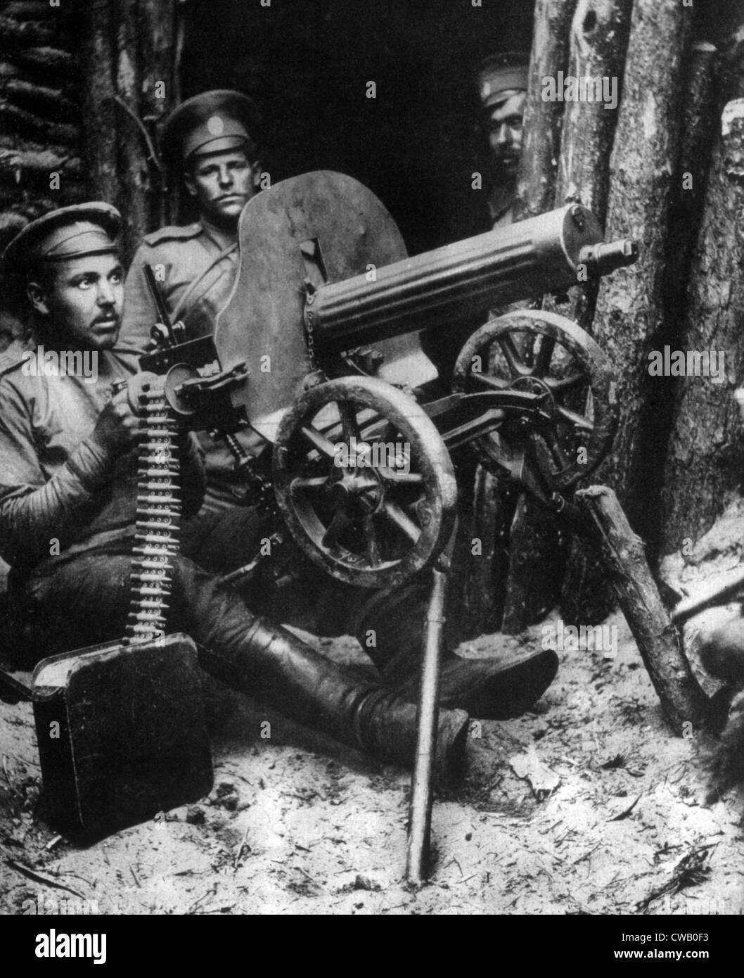 World War I, Russian machine gunners near Brest-Litovsk, 1915 - Stock Image