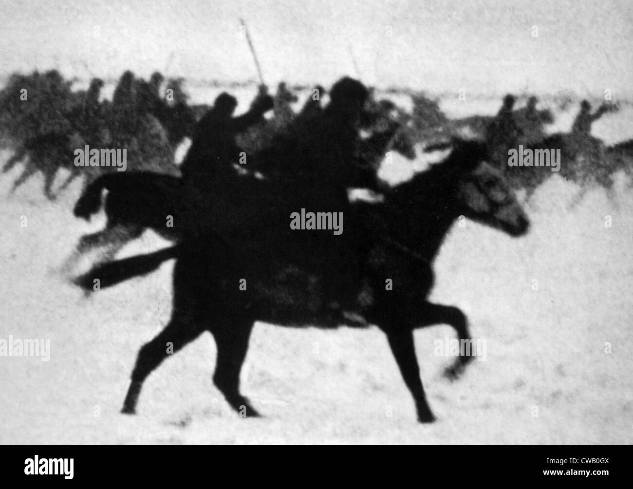 World War II, Russian cavalry in a winter offensive, 1942. - Stock Image