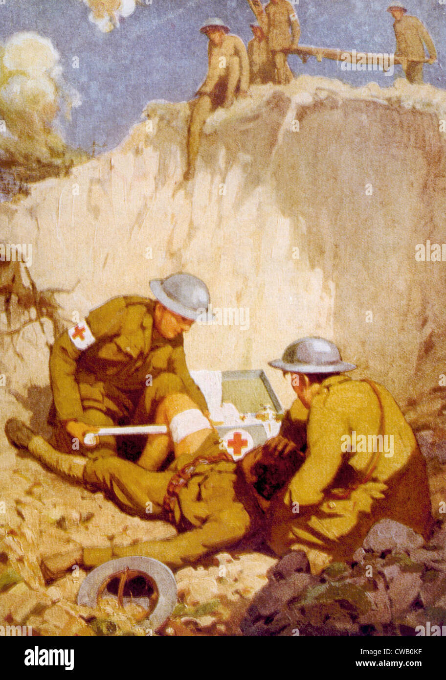 World War I, medics giving first aid on the battlefield in France, painting by J.R. Verrus, 1918 - Stock Image