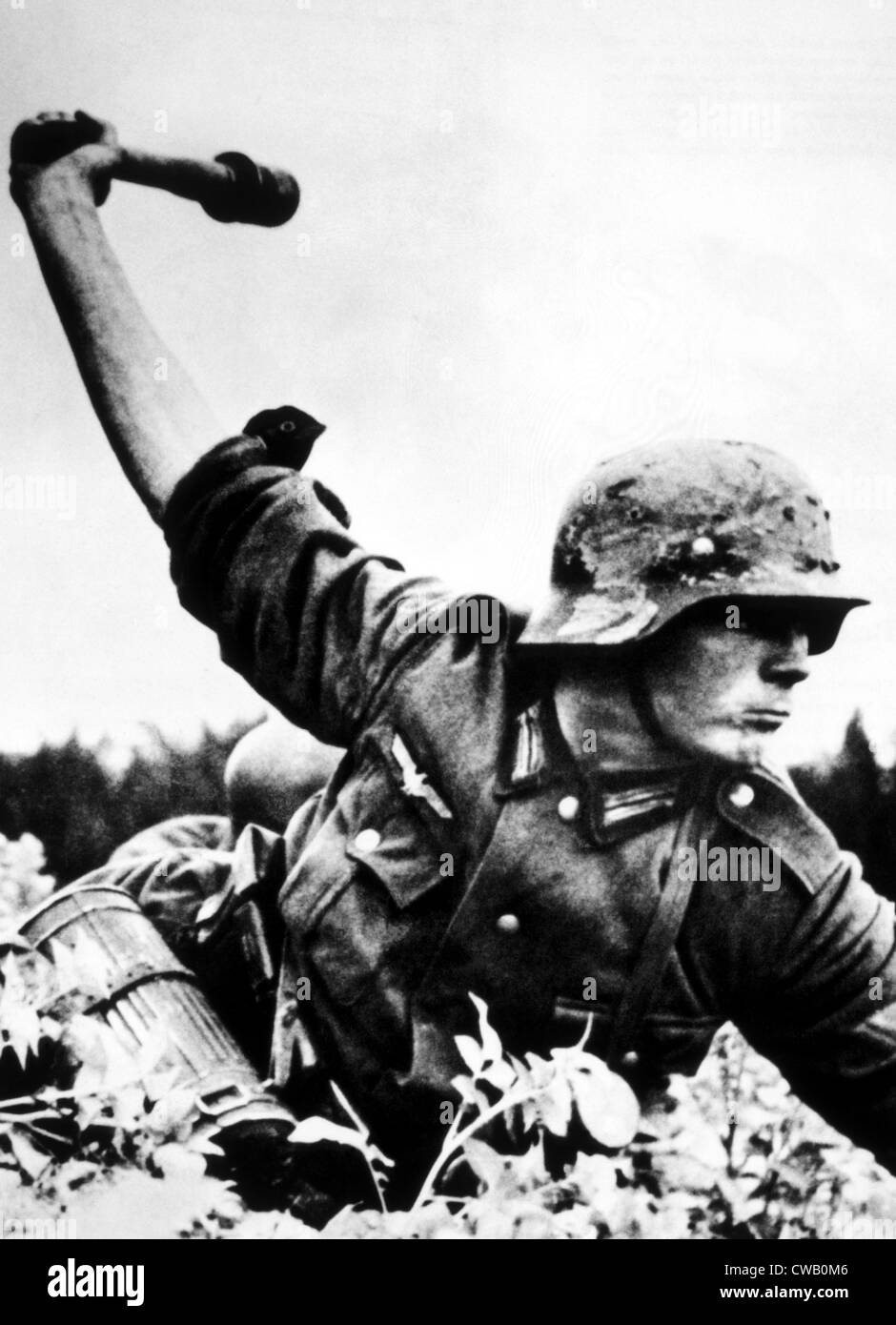 World War II, A German soldier about to threw a hand grenade