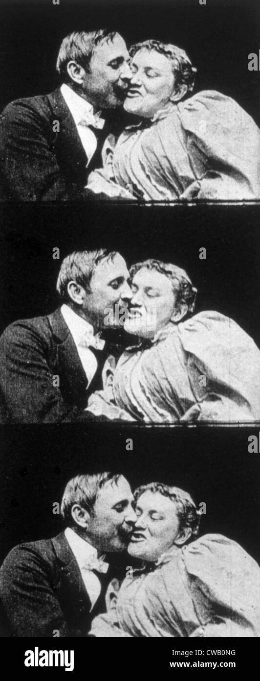THE KISS, John C. Rice, May Irwin, 1896 - Stock Image
