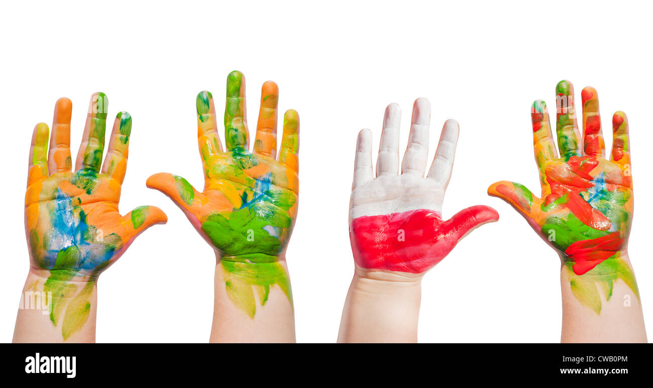 painted hands of child isolated on white background stock photo