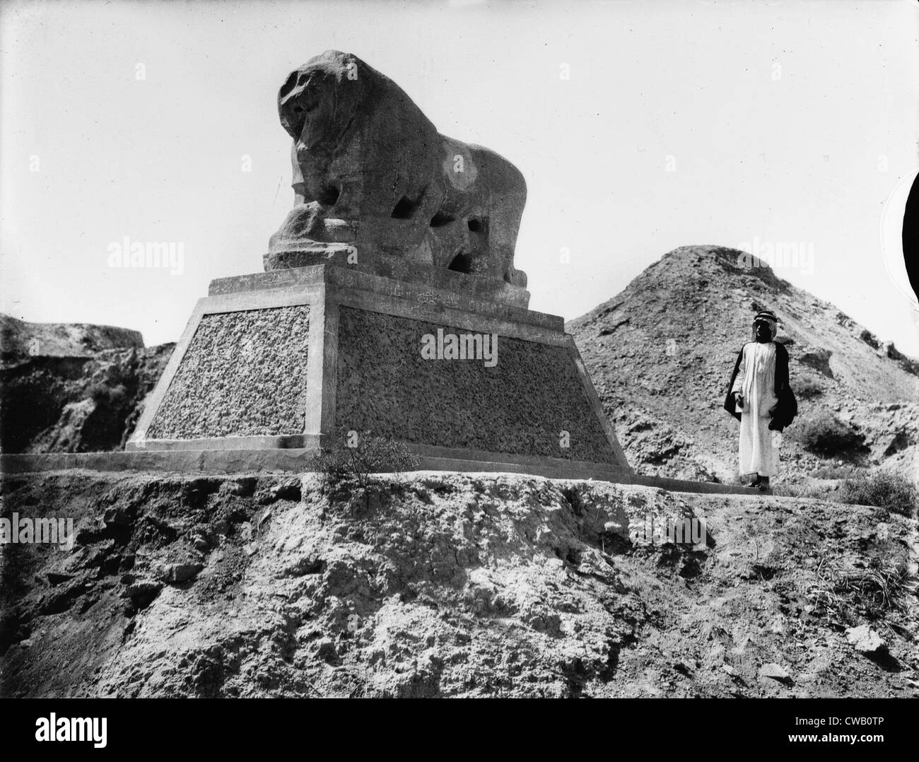 Babylon, a Basalt lion, Iraq, circa 1932. Stock Photo
