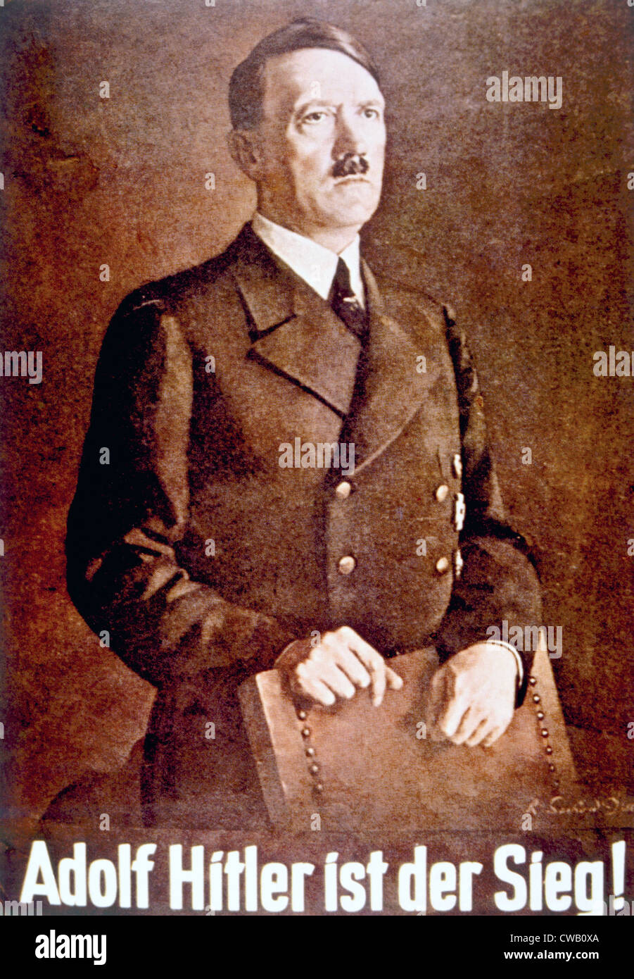 Adolf Hitler (1889-1945) in 'Adolf Hitler is Victory!' poster, ca. 1940 - Stock Image