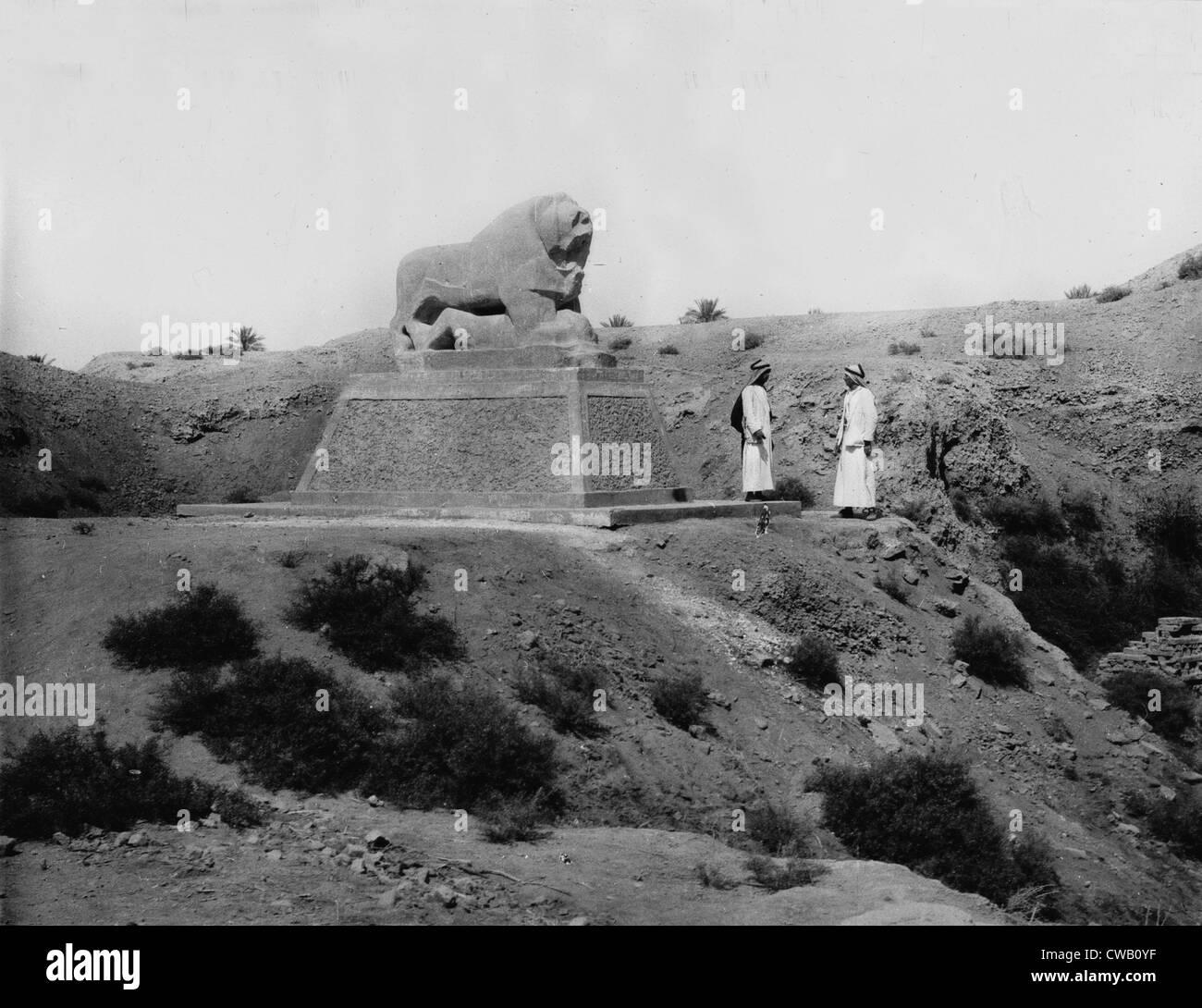 Babylon, Basalt lion, Iraq, circa 1932. Stock Photo