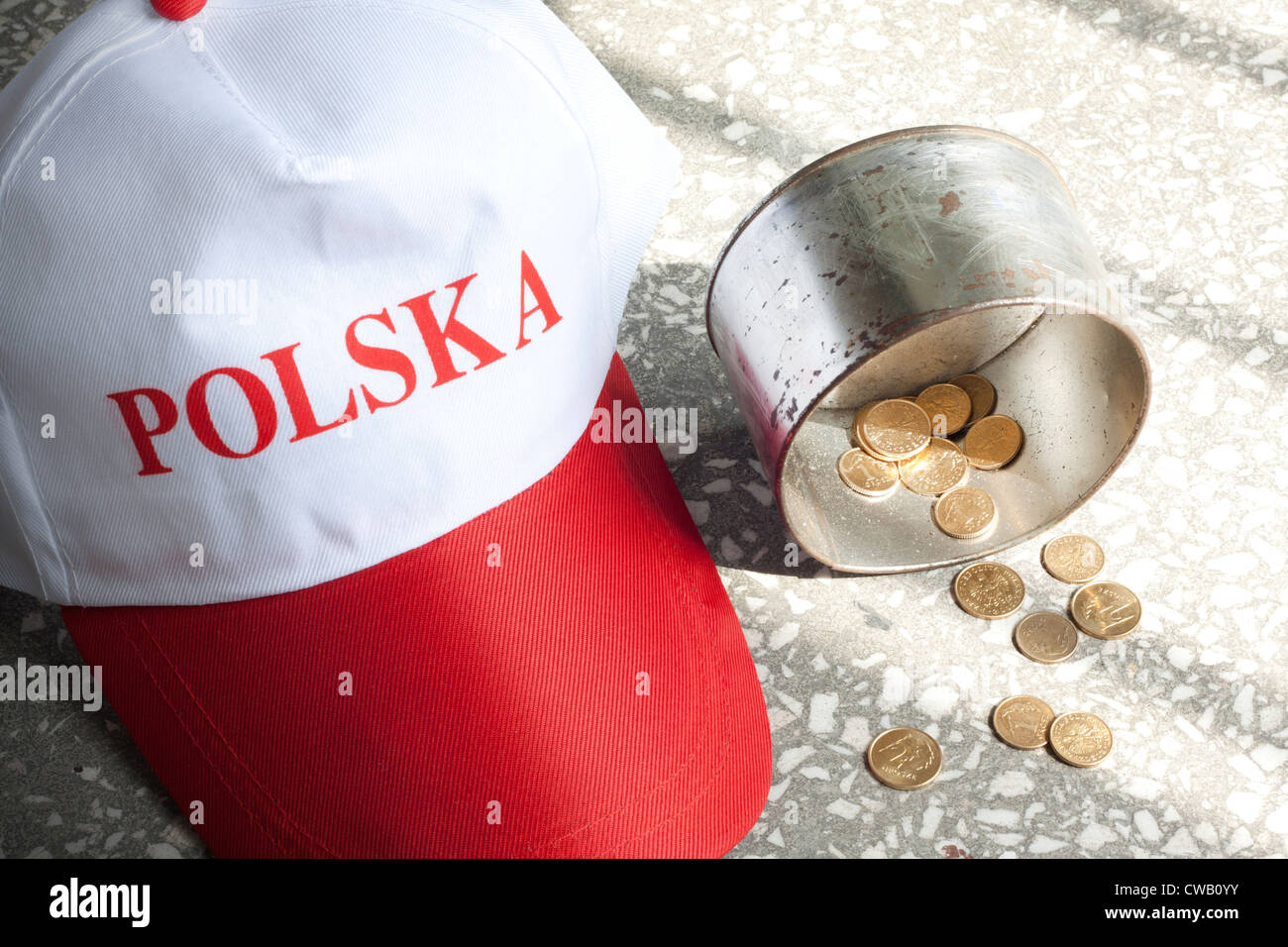 Beggar situation poverty misery and hunger concept in Poland - Stock Image