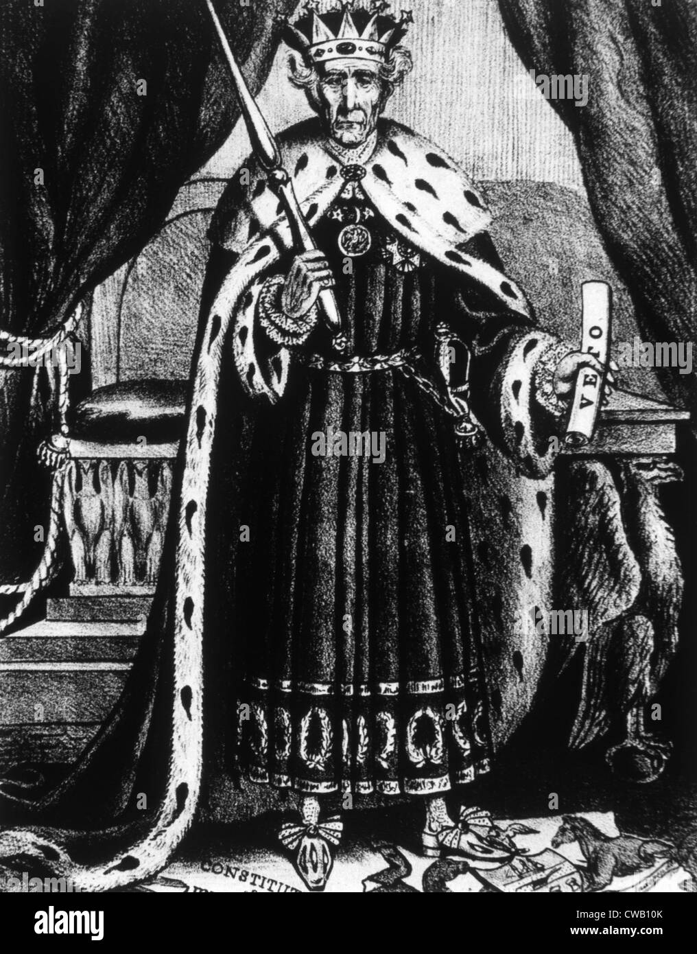 Political cartoon of President Andrew Jackson depicting him as 'King Andrew the First' after exercising - Stock Image