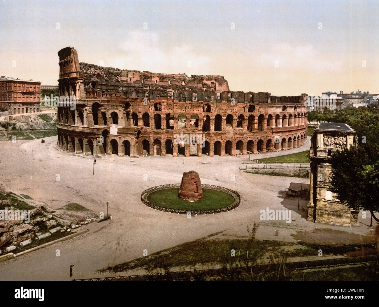 Rome, Colosseum and Meta Sudans at Rome, photochrom, ca 1890s - Stock Image