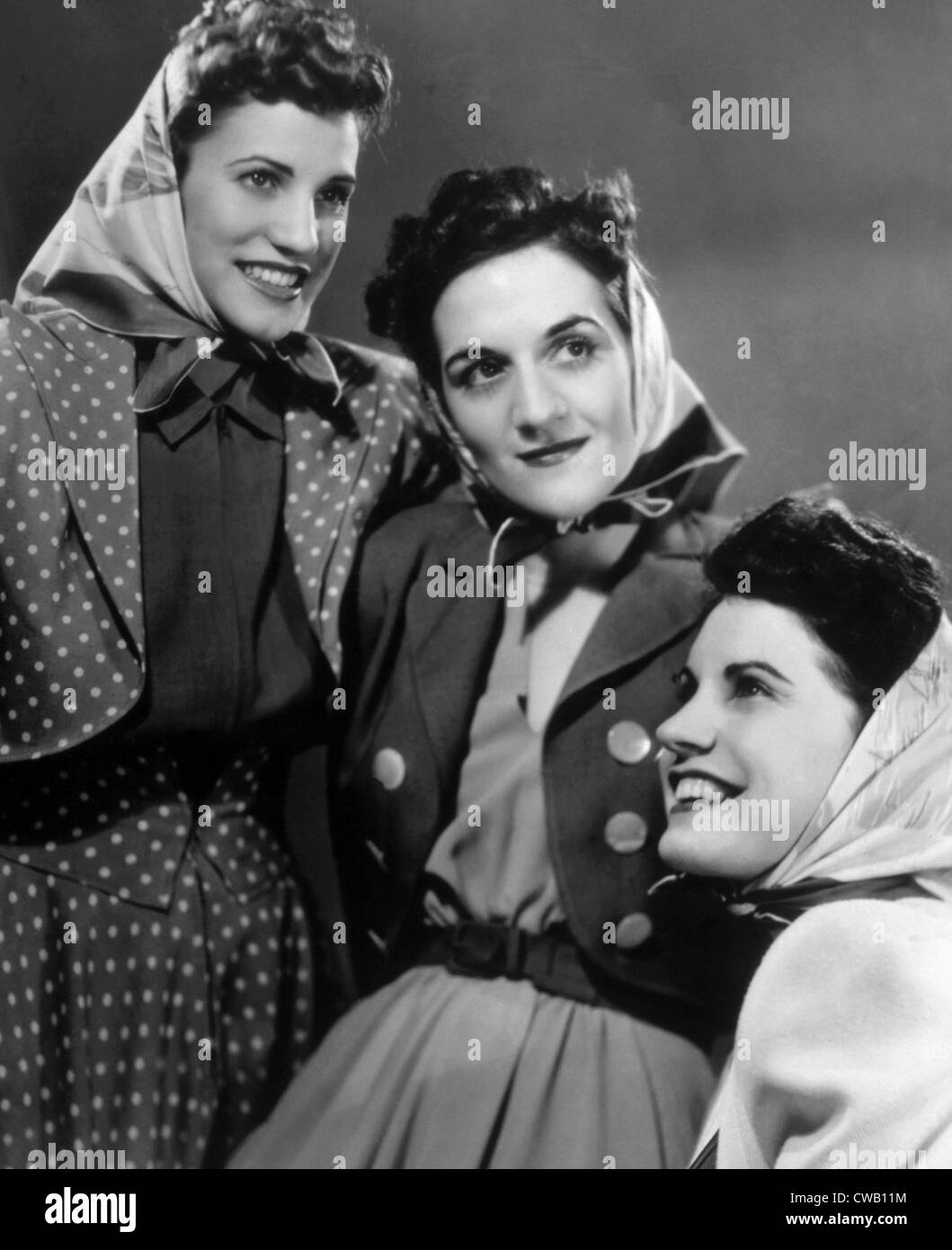 The Andrews Sisters, Patty Andrews, LaVerne Andrews, Maxene Andrews, ca. 1940s - Stock Image