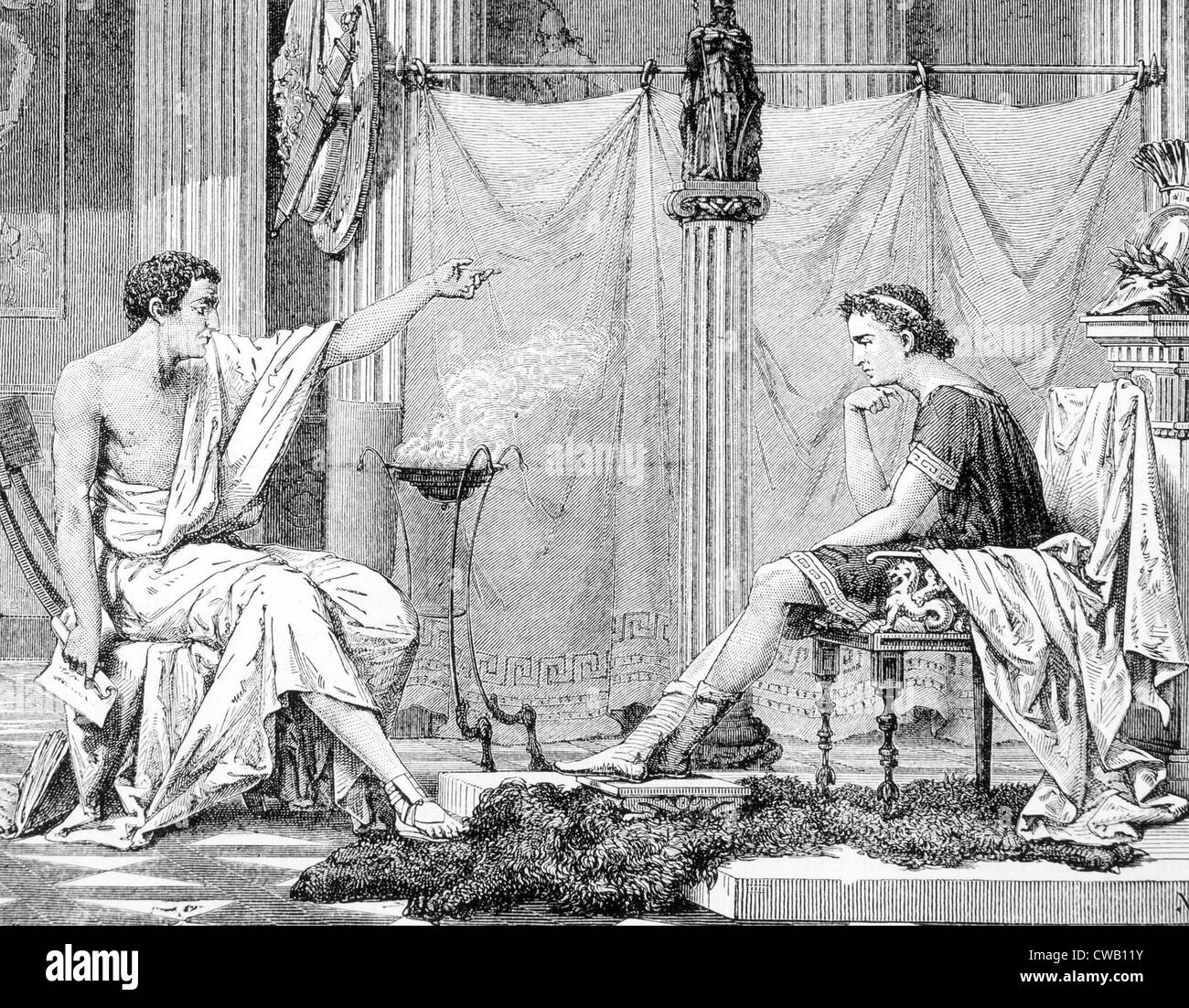 Aristotle and his pupil Alexander the Great, engraving 1885 - Stock Image