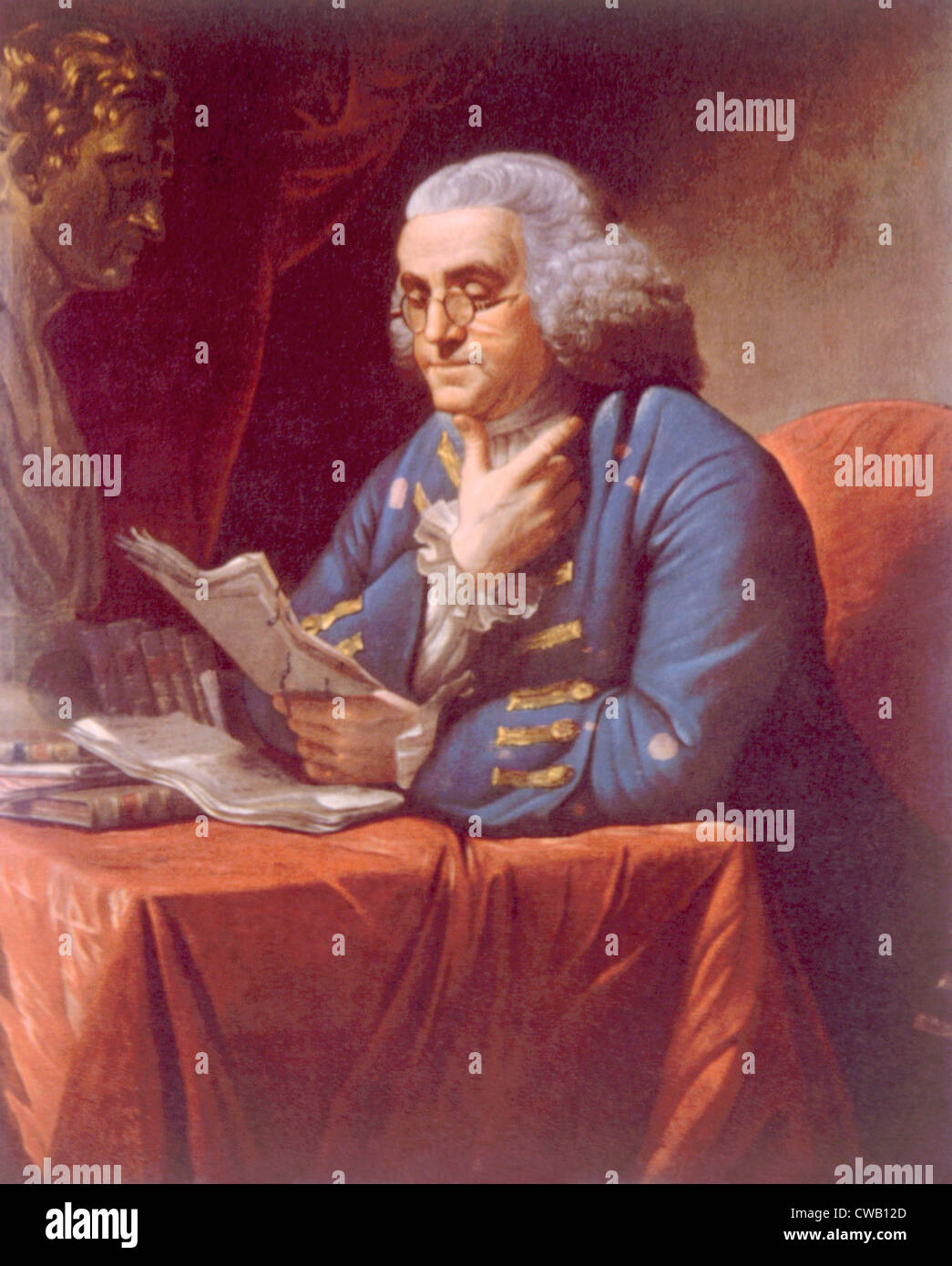 Benjamin Franklin (1706-1790), portrait by David Martin, 1767 Stock Photo