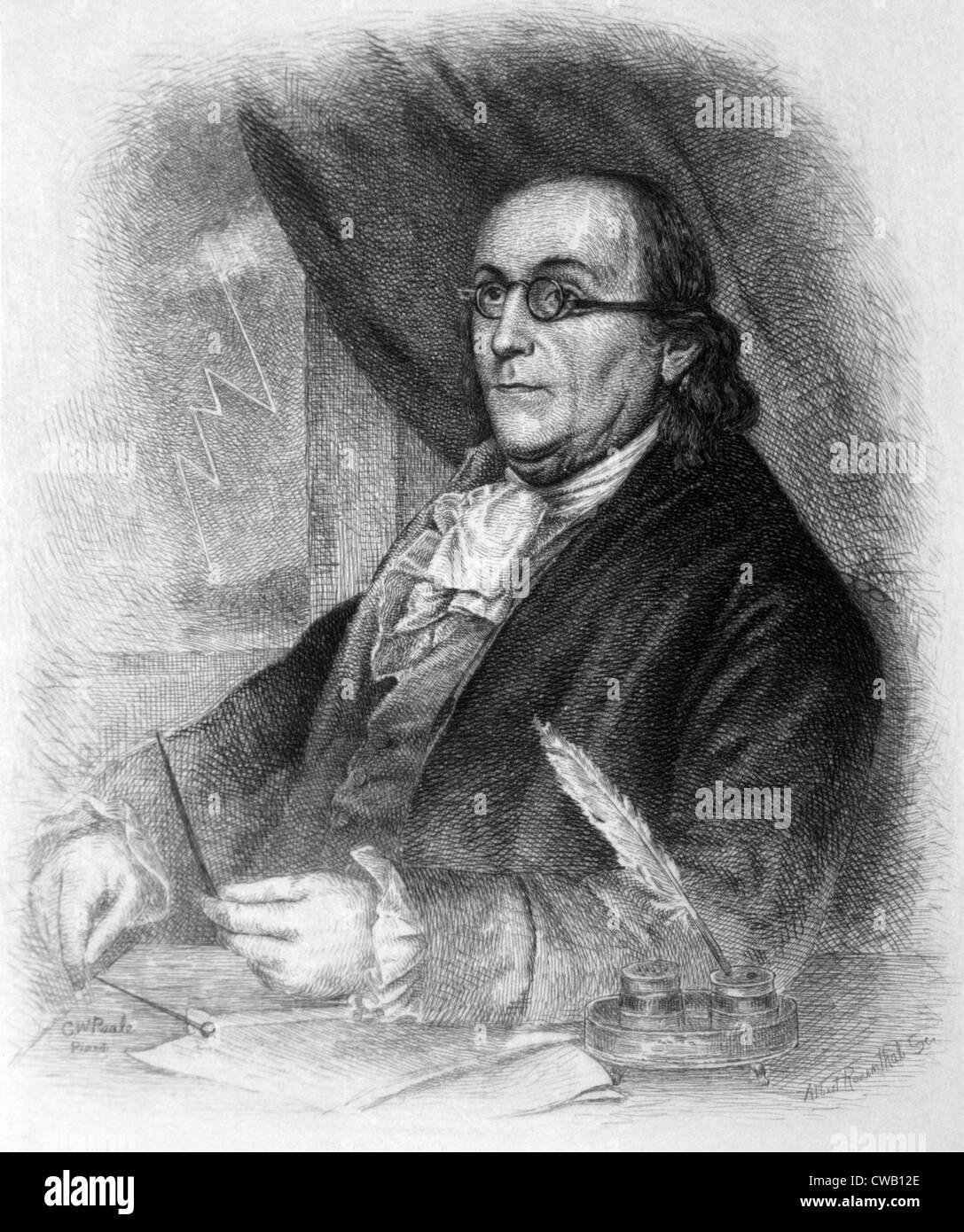 Benjamin Franklin (1706-1790), engraving 1889 - Stock Image