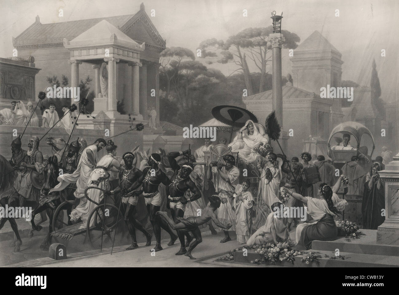 Ancient Rome, The Appian Way, Via Appia, Italy, engraving circa 1880. - Stock Image