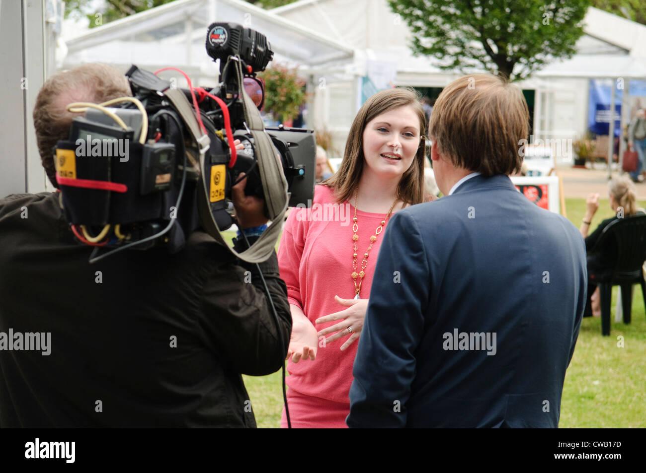 Edinburgh Book Festival: Television interview. - Stock Image