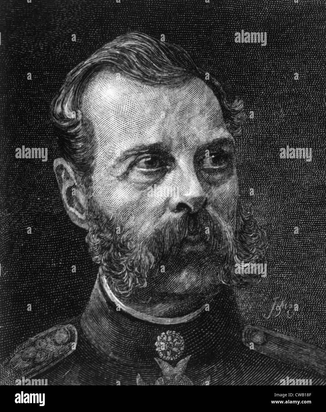 Czar Alexander II (1818-1881), Czar of Russia (1855-1881), engraving 1886 - Stock Image