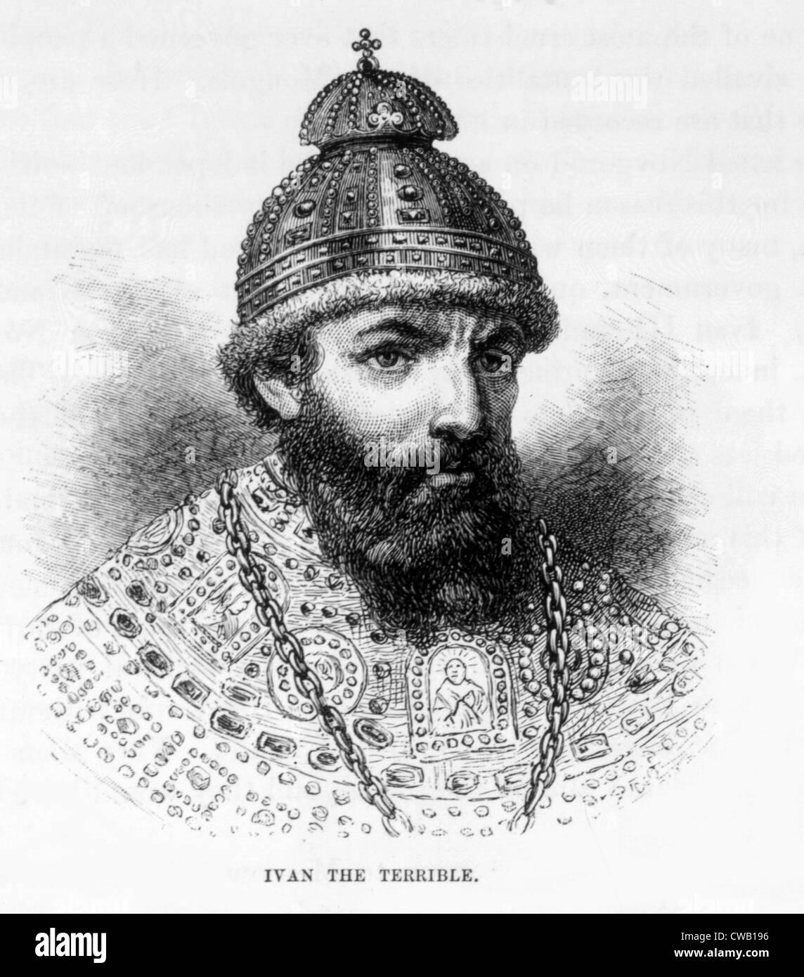 Czar Ivan IV (aka Ivan the Terrible), (1530-1584), engraving 1886 - Stock Image