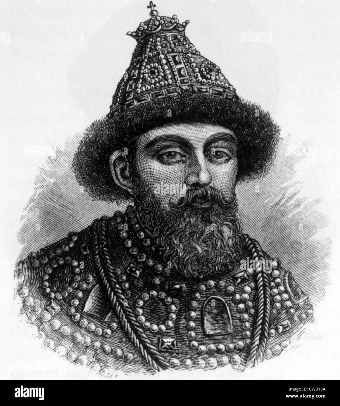 Czar Michael Feodorovitch (aka Michael Romanoff) (1596-1645), founder of the Romanoff dynasty, engraving 1886 - Stock Image