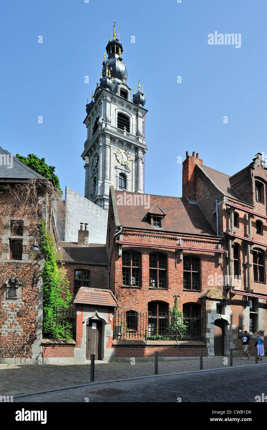 The Spanish House / Maison espagnole and belfry at the city Mons, Hainaut, Wallonia, Belgium - Stock Image
