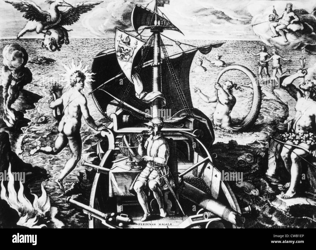 Ferdinand Magellan on his ship - Stock Image