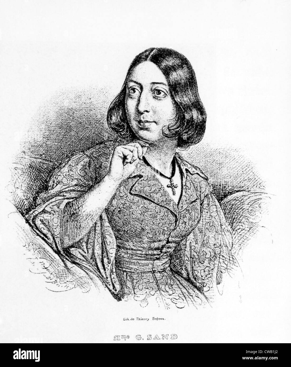George Sand (1804-1876), lithograph by J. Boilin - Stock Image
