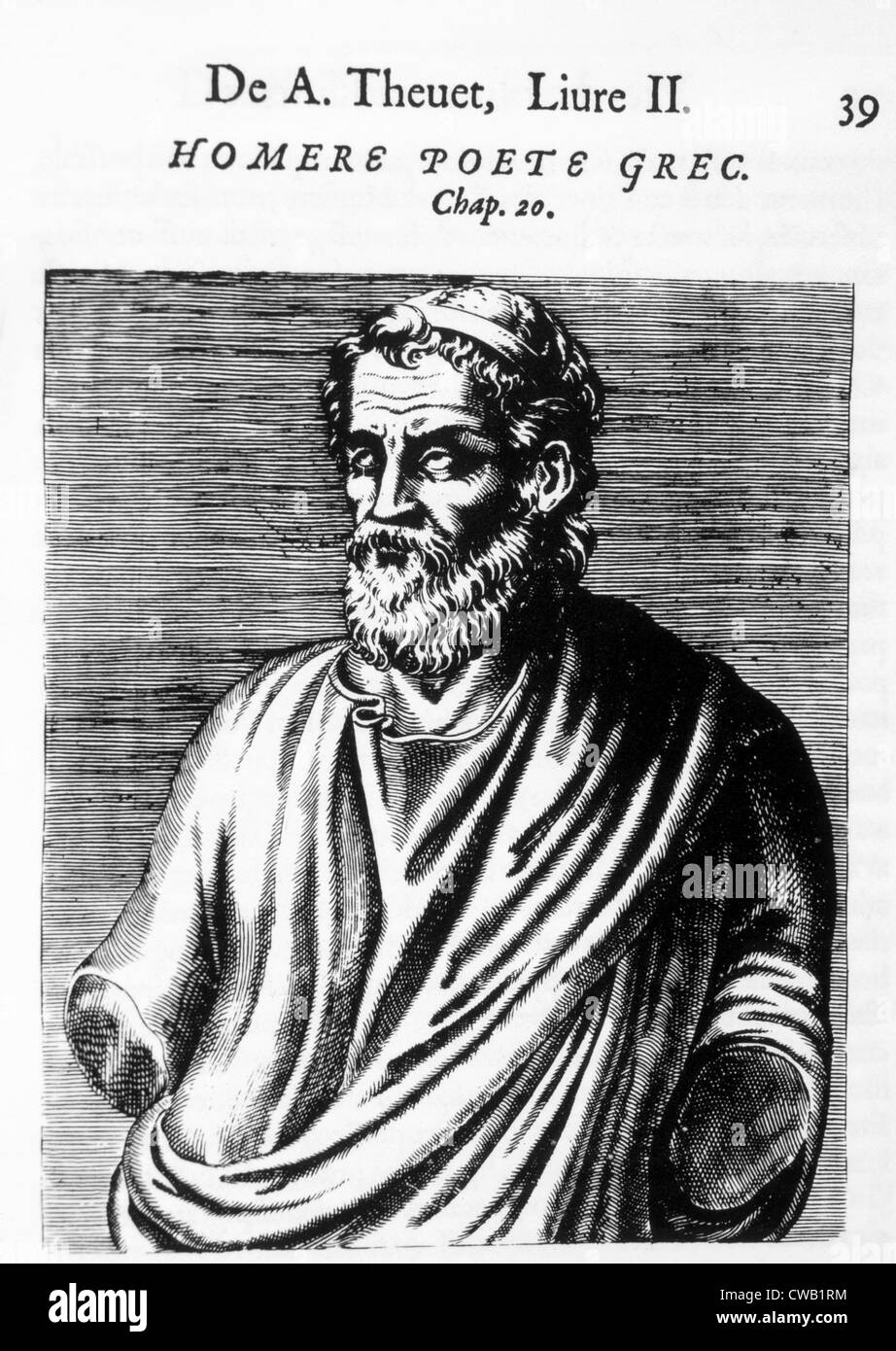 Homer (pre-700 B.C.), author of 'The Odyssey' and 'The Iliad,' woodcut from 'Les vrais pourtraits - Stock Image