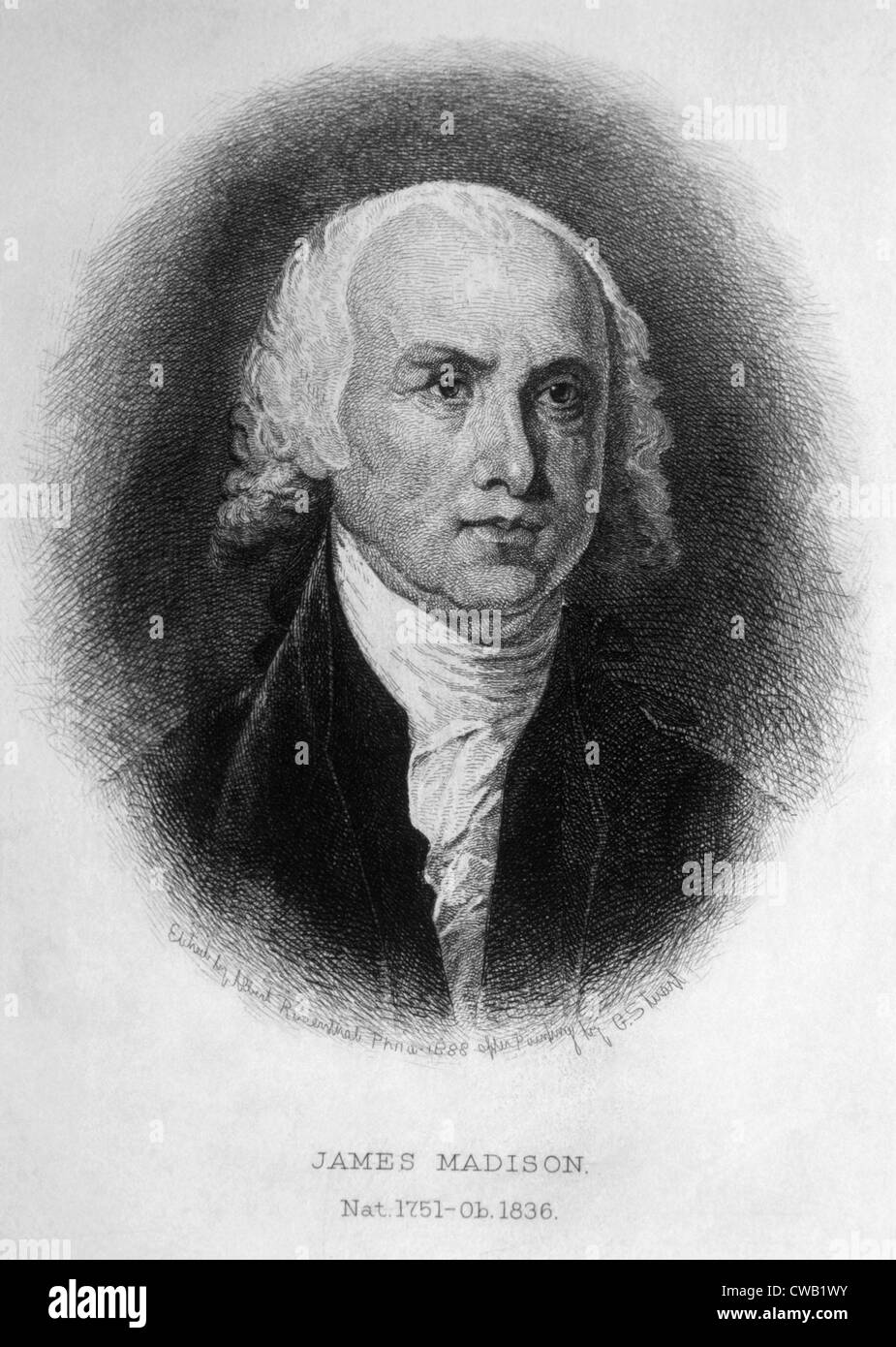 James Madison (1751-1836), U.S. President (1809-1817), engraving 1889 - Stock Image