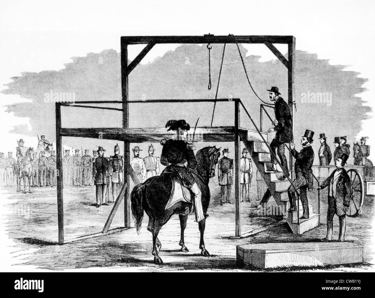 John Brown ascending the gallows at Harper's Ferry, Virginia on December 2nd, 1859, illustration from Leslie's - Stock Image
