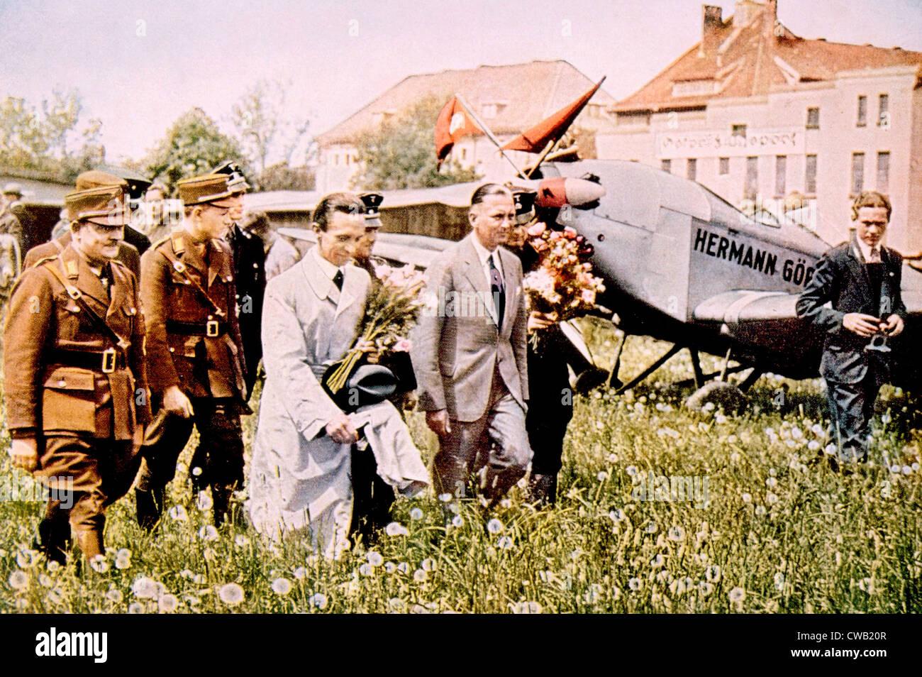 Joseph Goebbels (foreground, center), at the Konigsberg airport, c. 1933. - Stock Image