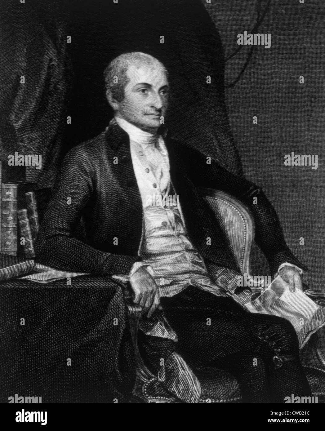 John Jay (1745-1829), first Chief Justice of U.S. Supreme Court (1789-1795), engraving 1859 - Stock Image