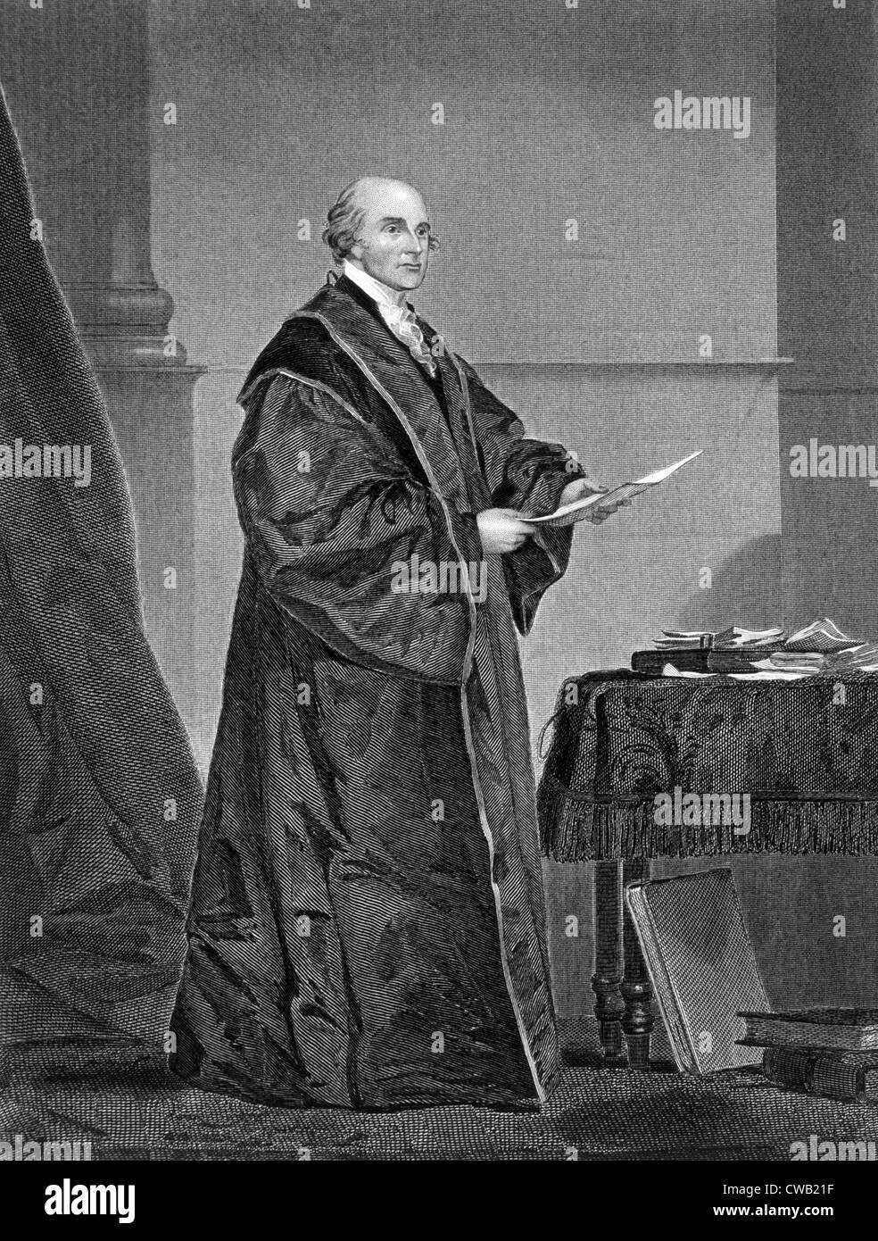 John Jay (1745-1829), first U.S. Supreme Court Chief Justice (1789-1795), engraving 1858 - Stock Image