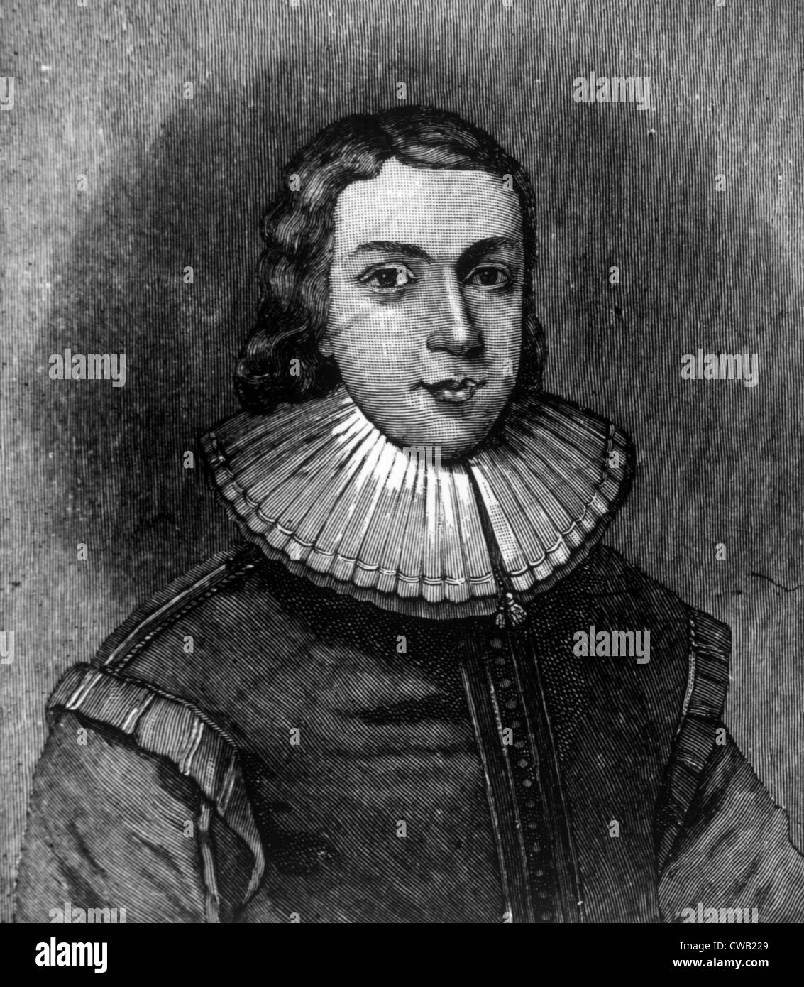 John Milton (1608-1674), author of 'Paradise Lost,' engraving depicting him at age 21, 1731 - Stock Image
