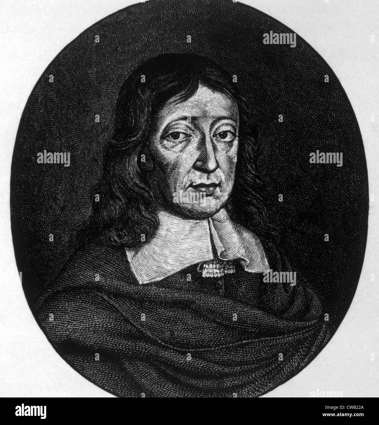 John Milton (1608-1674), author of 'Paradise Lost,' engraving depicting him at age 62, 1670 - Stock Image