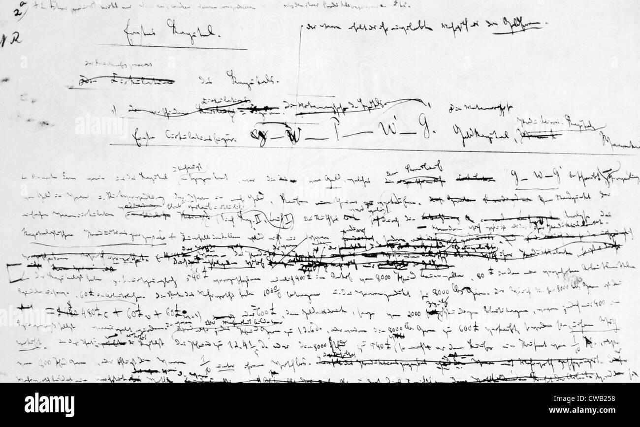 Karl Marx's manuscript for 'Das Kapital,' 1867 - Stock Image