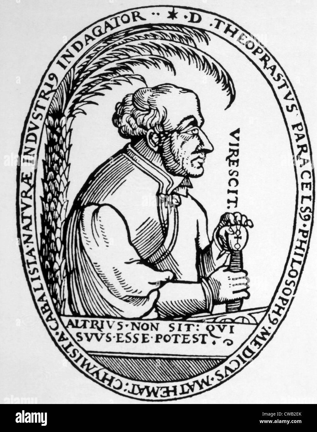 Philippus Aureolus Paracelsus (ca. 1493-1541), woodcut from Paracelsus, 'Archidox,' Munich, 1570 - Stock Image