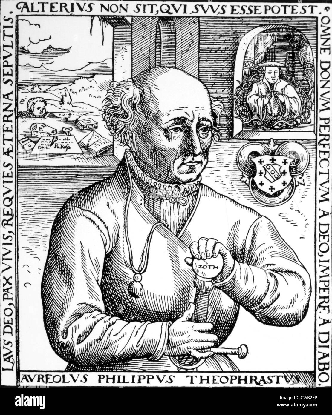 Philippus Aureolus Paracelsus (ca. 1493-1541), woodcut from Paracelsus, 'Astronomica et estrologia opuscula' - Stock Image
