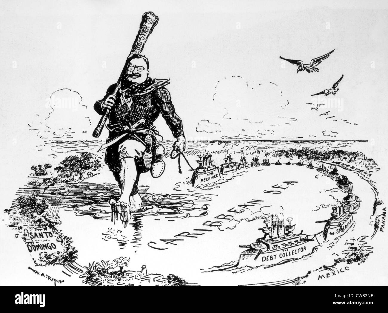 President Theodore Roosevelt patrolling the Caribbean with his 'Big Stick' in a political cartoon, 1904 - Stock Image