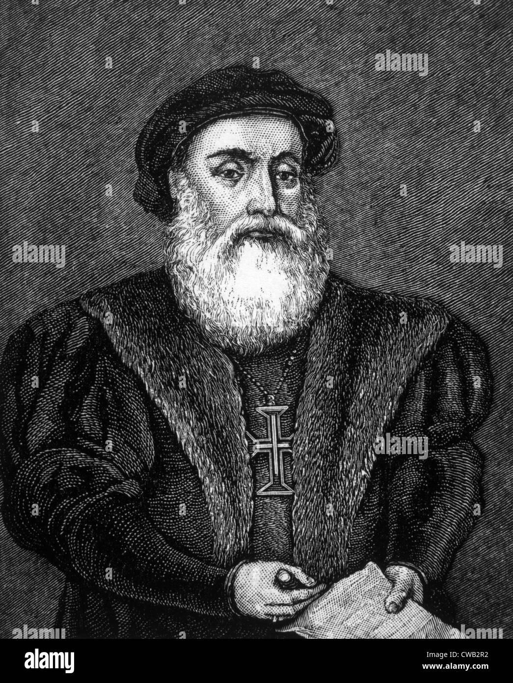 Vasco da Gama (ca. 1469-1524), engraving 1883 - Stock Image