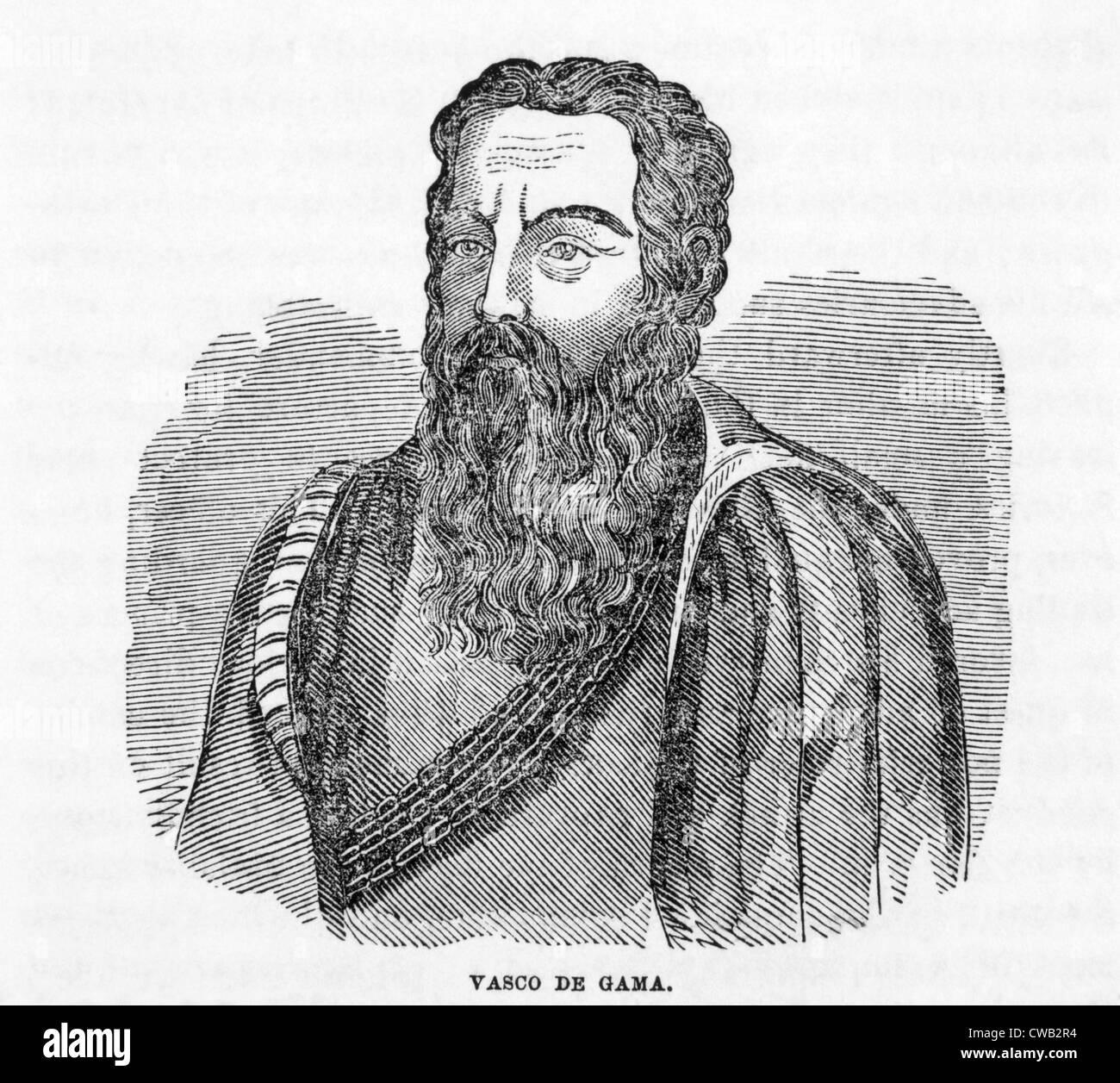 Vasco da Gama (ca. 1469-1524), woodcut engraving 1859 - Stock Image